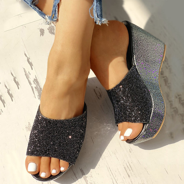 Open Toe Sequins Platform Sandals - Shop Shiningbabe - Womens Fashion Online Shopping Offering Huge Discounts on Shoes - Heels, Sandals, Boots, Slippers; Clothing - Tops, Dresses, Jumpsuits, and More.