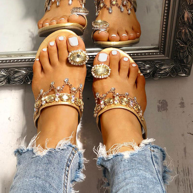 Studded Detail Toe Ring Casual Sandals - Shop Shiningbabe - Womens Fashion Online Shopping Offering Huge Discounts on Shoes - Heels, Sandals, Boots, Slippers; Clothing - Tops, Dresses, Jumpsuits, and More.