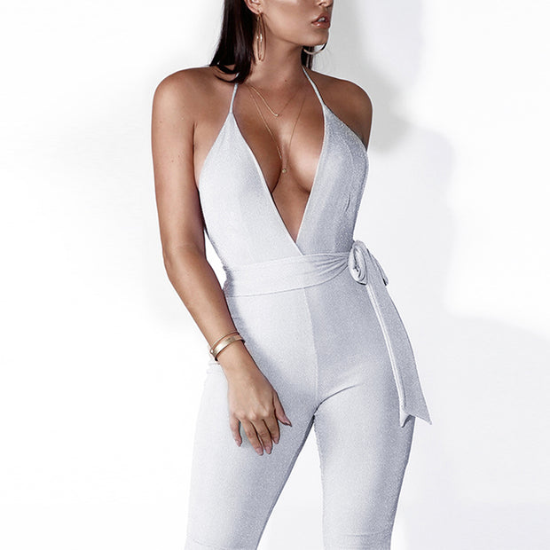 Strap Gold Wire Deep V Season Girdle Jumpsuit - Shop Shiningbabe - Womens Fashion Online Shopping Offering Huge Discounts on Shoes - Heels, Sandals, Boots, Slippers; Clothing - Tops, Dresses, Jumpsuits, and More.