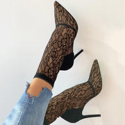 Lace Suede Pointed Toe Thin Heeled Boots - Shop Shiningbabe - Womens Fashion Online Shopping Offering Huge Discounts on Shoes - Heels, Sandals, Boots, Slippers; Clothing - Tops, Dresses, Jumpsuits, and More.