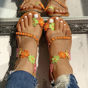 Flower Embellished Toe Ring Flat Sandals - Shop Shiningbabe - Womens Fashion Online Shopping Offering Huge Discounts on Shoes - Heels, Sandals, Boots, Slippers; Clothing - Tops, Dresses, Jumpsuits, and More.