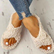 Solid Fluffy Crisscross Design Flat Sandals - Shop Shiningbabe - Womens Fashion Online Shopping Offering Huge Discounts on Shoes - Heels, Sandals, Boots, Slippers; Clothing - Tops, Dresses, Jumpsuits, and More.