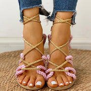 Rope Design Lace-Up Knotted Flat Sandals - Shop Shiningbabe - Womens Fashion Online Shopping Offering Huge Discounts on Shoes - Heels, Sandals, Boots, Slippers; Clothing - Tops, Dresses, Jumpsuits, and More.