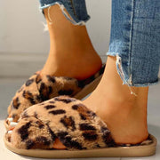 Fluffy Leopard Crisscross Flat Slippers - Shop Shiningbabe - Womens Fashion Online Shopping Offering Huge Discounts on Shoes - Heels, Sandals, Boots, Slippers; Clothing - Tops, Dresses, Jumpsuits, and More.