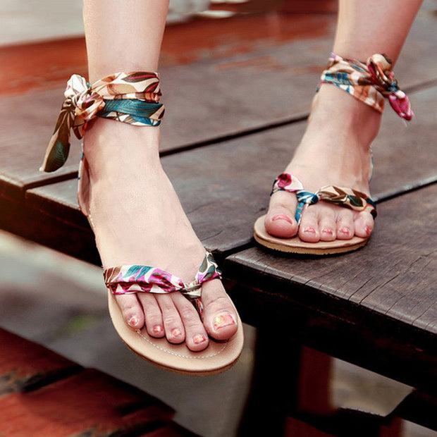 Bohemian Strappy Flower Print Flat Sandals - Shop Shiningbabe - Womens Fashion Online Shopping Offering Huge Discounts on Shoes - Heels, Sandals, Boots, Slippers; Clothing - Tops, Dresses, Jumpsuits, and More.
