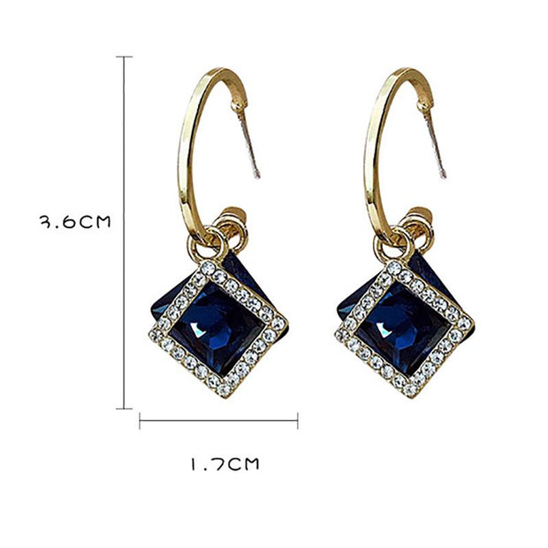 Fashion Square Studded Drop Earrings
