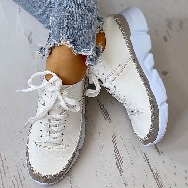 Contrast Stitch Lace-Up Muffin Sneakers - Shop Shiningbabe - Womens Fashion Online Shopping Offering Huge Discounts on Shoes - Heels, Sandals, Boots, Slippers; Clothing - Tops, Dresses, Jumpsuits, and More.