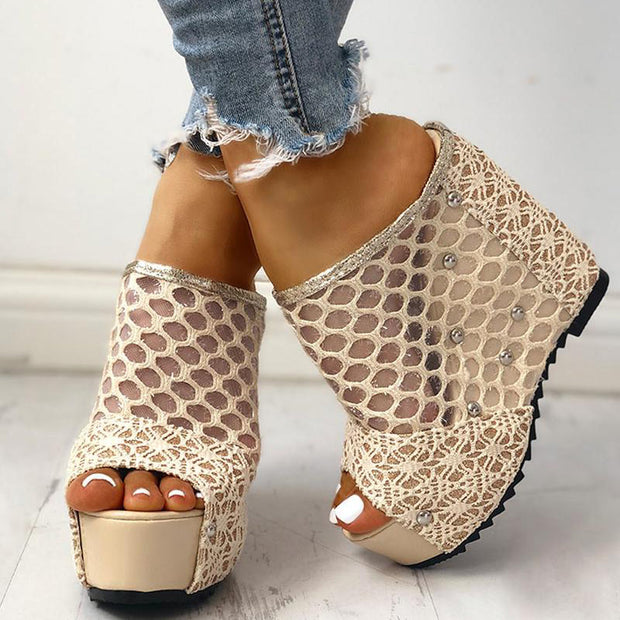 Mesh Hollow Out Platform Wedge Sandals - Shop Shiningbabe - Womens Fashion Online Shopping Offering Huge Discounts on Shoes - Heels, Sandals, Boots, Slippers; Clothing - Tops, Dresses, Jumpsuits, and More.