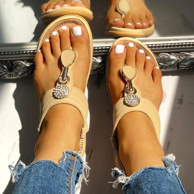 Studded Toe Post Flat Sandals - Shop Shiningbabe - Womens Fashion Online Shopping Offering Huge Discounts on Shoes - Heels, Sandals, Boots, Slippers; Clothing - Tops, Dresses, Jumpsuits, and More.