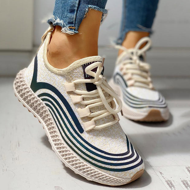 Striped Lace-Up Muffin Casual Sneakers - Shop Shiningbabe - Womens Fashion Online Shopping Offering Huge Discounts on Shoes - Heels, Sandals, Boots, Slippers; Clothing - Tops, Dresses, Jumpsuits, and More.