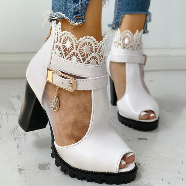Peep Toe Lace Mesh Insert Chunky Heeled Boot - Shop Shiningbabe - Womens Fashion Online Shopping Offering Huge Discounts on Shoes - Heels, Sandals, Boots, Slippers; Clothing - Tops, Dresses, Jumpsuits, and More.