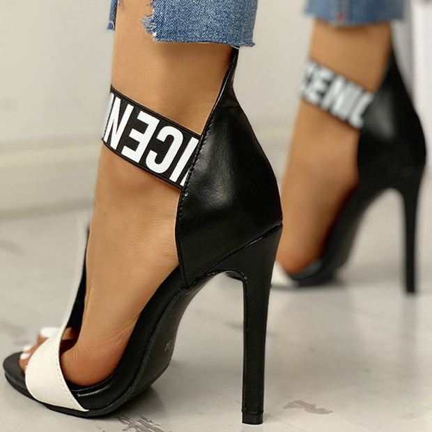 Letter Print Thin Heeled Sandals - Shop Shiningbabe - Womens Fashion Online Shopping Offering Huge Discounts on Shoes - Heels, Sandals, Boots, Slippers; Clothing - Tops, Dresses, Jumpsuits, and More.