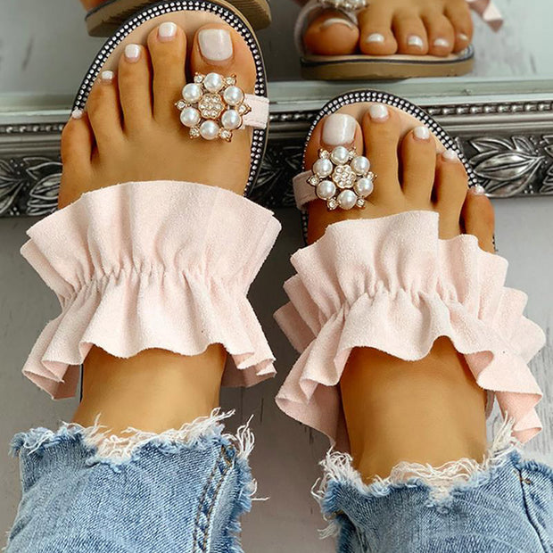 Toe Ring Beaded Frill Hem Casual Sandals - Shop Shiningbabe - Womens Fashion Online Shopping Offering Huge Discounts on Shoes - Heels, Sandals, Boots, Slippers; Clothing - Tops, Dresses, Jumpsuits, and More.