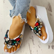 Toe Post Beaded Platform Muffin Sandals - Shop Shiningbabe - Womens Fashion Online Shopping Offering Huge Discounts on Shoes - Heels, Sandals, Boots, Slippers; Clothing - Tops, Dresses, Jumpsuits, and More.