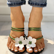 Floral Embellished Toe Ring Casual Sandals - Shop Shiningbabe - Womens Fashion Online Shopping Offering Huge Discounts on Shoes - Heels, Sandals, Boots, Slippers; Clothing - Tops, Dresses, Jumpsuits, and More.