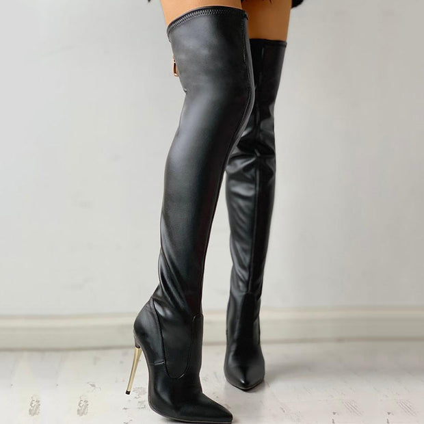 Zipper Knee-High Thin Heel Boots - Shop Shiningbabe - Womens Fashion Online Shopping Offering Huge Discounts on Shoes - Heels, Sandals, Boots, Slippers; Clothing - Tops, Dresses, Jumpsuits, and More.