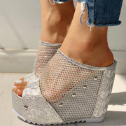 Fishnet Insert Platform Wedge Sandals - Shop Shiningbabe - Womens Fashion Online Shopping Offering Huge Discounts on Shoes - Heels, Sandals, Boots, Slippers; Clothing - Tops, Dresses, Jumpsuits, and More.