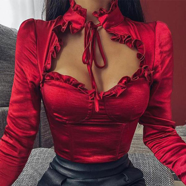 Tie Neck Chest Cut Out Top - Shop Shiningbabe - Womens Fashion Online Shopping Offering Huge Discounts on Shoes - Heels, Sandals, Boots, Slippers; Clothing - Tops, Dresses, Jumpsuits, and More.