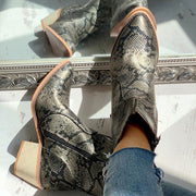 Pointed Toe Snakeskin Zipper Design Chunky Heeled PU Boots - Shop Shiningbabe - Womens Fashion Online Shopping Offering Huge Discounts on Shoes - Heels, Sandals, Boots, Slippers; Clothing - Tops, Dresses, Jumpsuits, and More.