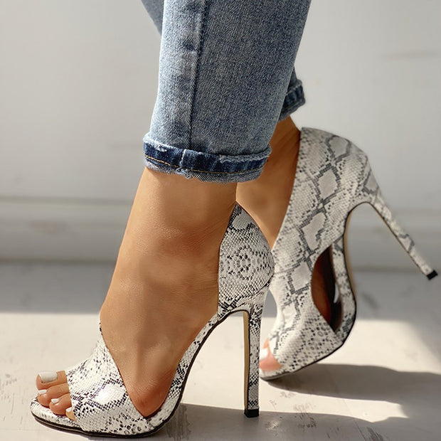Snakeskin Peep Toe Cutout Thin Heels - Shop Shiningbabe - Womens Fashion Online Shopping Offering Huge Discounts on Shoes - Heels, Sandals, Boots, Slippers; Clothing - Tops, Dresses, Jumpsuits, and More.