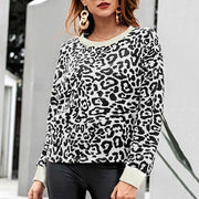 Leopard-print Round Neck Long-sleeved Top - Shop Shiningbabe - Womens Fashion Online Shopping Offering Huge Discounts on Shoes - Heels, Sandals, Boots, Slippers; Clothing - Tops, Dresses, Jumpsuits, and More.