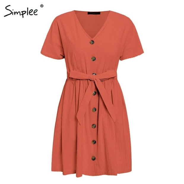 Vintage Button V Neck Short Sleeve Dresses - Shop Shiningbabe - Womens Fashion Online Shopping Offering Huge Discounts on Shoes - Heels, Sandals, Boots, Slippers; Clothing - Tops, Dresses, Jumpsuits, and More.