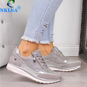Gold Zipper Platform Trainers Casual Lace-Up Tenis Sneakers - Shop Shiningbabe - Womens Fashion Online Shopping Offering Huge Discounts on Shoes - Heels, Sandals, Boots, Slippers; Clothing - Tops, Dresses, Jumpsuits, and More.