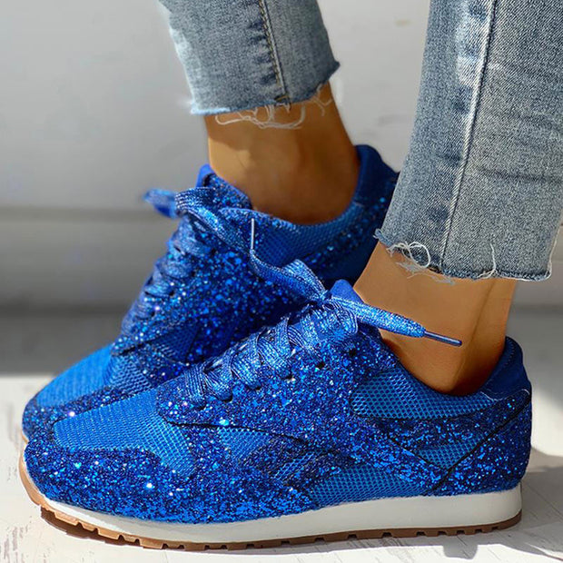 Glitter Casual Bling Mesh Lace Up Sneakers - Shop Shiningbabe - Womens Fashion Online Shopping Offering Huge Discounts on Shoes - Heels, Sandals, Boots, Slippers; Clothing - Tops, Dresses, Jumpsuits, and More.
