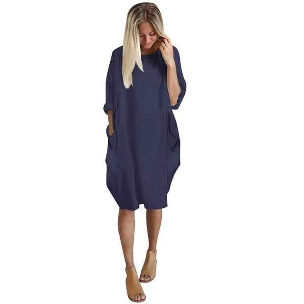 Autumn Womens Pocket Loose Dress - Shop Shiningbabe - Womens Fashion Online Shopping Offering Huge Discounts on Shoes - Heels, Sandals, Boots, Slippers; Clothing - Tops, Dresses, Jumpsuits, and More.