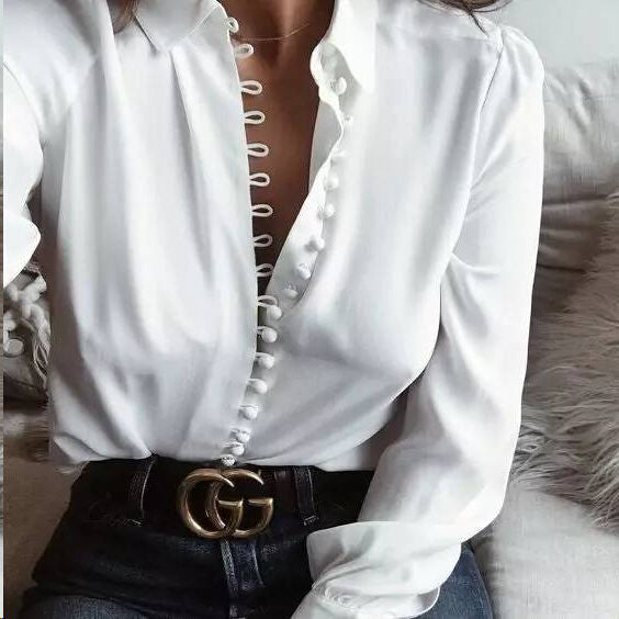 Fashion V Neck Long Sleeve Loose Chiffon Blouse - Shop Shiningbabe - Womens Fashion Online Shopping Offering Huge Discounts on Shoes - Heels, Sandals, Boots, Slippers; Clothing - Tops, Dresses, Jumpsuits, and More.