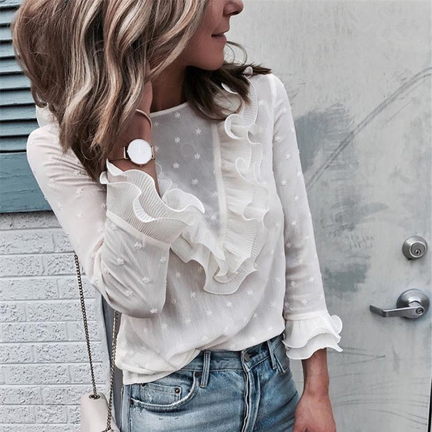 Casual Ruffle Frill Long Sleeve Perspectived Top - Shop Shiningbabe - Womens Fashion Online Shopping Offering Huge Discounts on Shoes - Heels, Sandals, Boots, Slippers; Clothing - Tops, Dresses, Jumpsuits, and More.