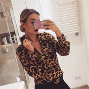 V-Neck Leopard Print Long Sleeve Blouse - Shop Shiningbabe - Womens Fashion Online Shopping Offering Huge Discounts on Shoes - Heels, Sandals, Boots, Slippers; Clothing - Tops, Dresses, Jumpsuits, and More.