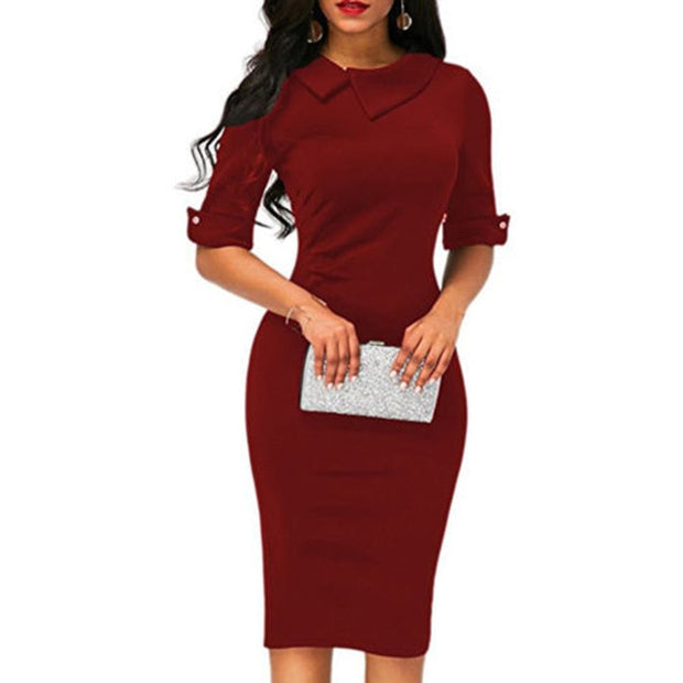 lapel straight knee-length dress - Shop Shiningbabe - Womens Fashion Online Shopping Offering Huge Discounts on Shoes - Heels, Sandals, Boots, Slippers; Clothing - Tops, Dresses, Jumpsuits, and More.