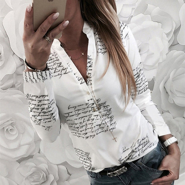 Letter Print Button Design Casual Shirt - Shop Shiningbabe - Womens Fashion Online Shopping Offering Huge Discounts on Shoes - Heels, Sandals, Boots, Slippers; Clothing - Tops, Dresses, Jumpsuits, and More.