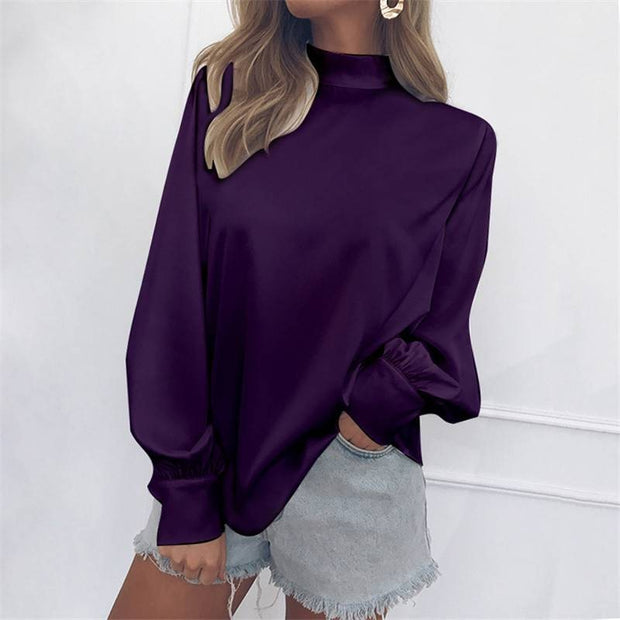High Neck Casual Puff Sleeve Blouse Tops - Shop Shiningbabe - Womens Fashion Online Shopping Offering Huge Discounts on Shoes - Heels, Sandals, Boots, Slippers; Clothing - Tops, Dresses, Jumpsuits, and More.