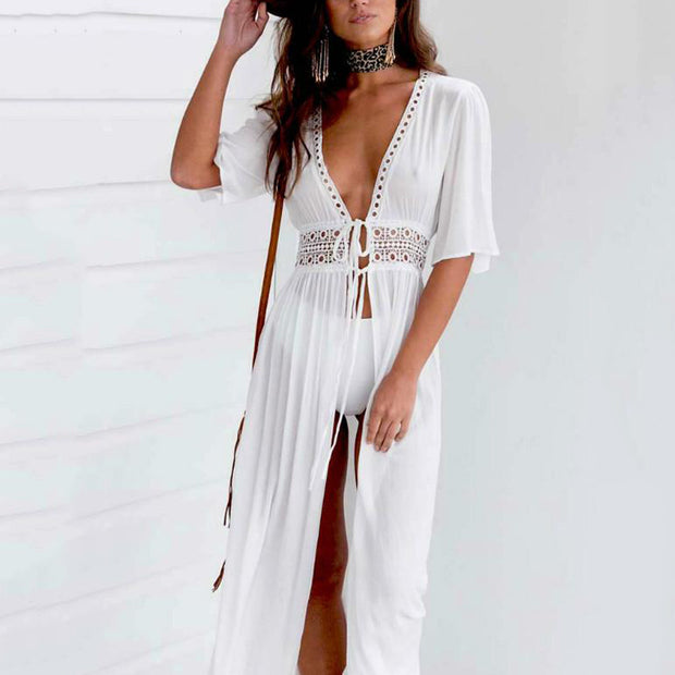 Deep V Hollow Out Lace-up Beach Dress - Shop Shiningbabe - Womens Fashion Online Shopping Offering Huge Discounts on Shoes - Heels, Sandals, Boots, Slippers; Clothing - Tops, Dresses, Jumpsuits, and More.