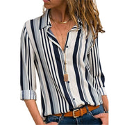 Casual Striped Long Sleeve Button Blouse - Shop Shiningbabe - Womens Fashion Online Shopping Offering Huge Discounts on Shoes - Heels, Sandals, Boots, Slippers; Clothing - Tops, Dresses, Jumpsuits, and More.