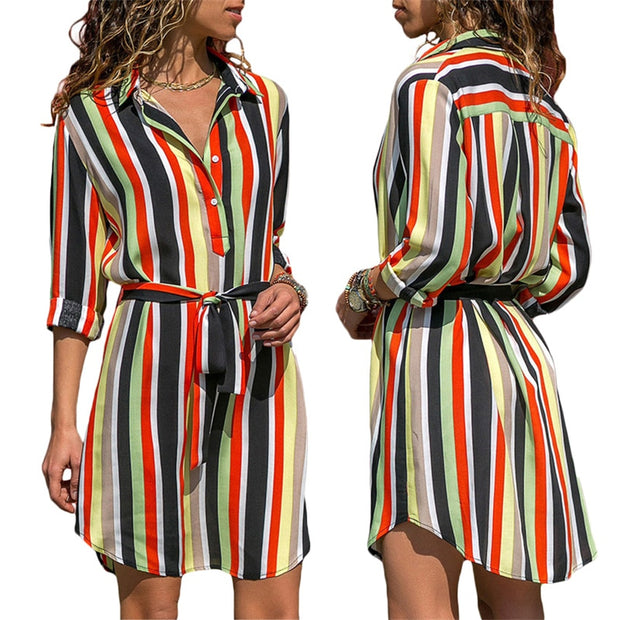 Loose Long Sleeve striped Dress - Shop Shiningbabe - Womens Fashion Online Shopping Offering Huge Discounts on Shoes - Heels, Sandals, Boots, Slippers; Clothing - Tops, Dresses, Jumpsuits, and More.