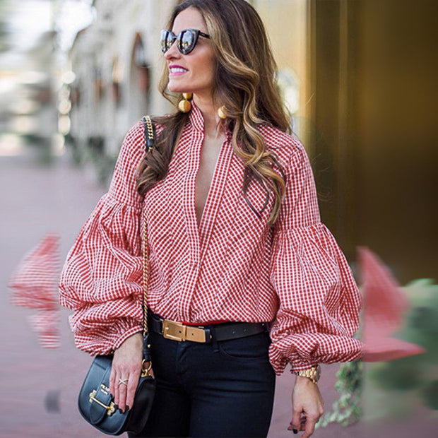 Casual stripe Puff Sleeve Blouse - Shop Shiningbabe - Womens Fashion Online Shopping Offering Huge Discounts on Shoes - Heels, Sandals, Boots, Slippers; Clothing - Tops, Dresses, Jumpsuits, and More.