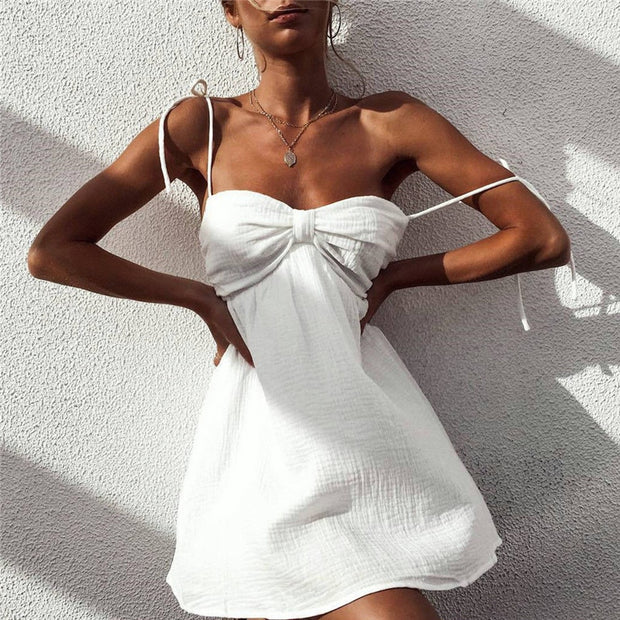 Strapless Lace Up Pleated Loose Vacation Beach Mini Dress - Shop Shiningbabe - Womens Fashion Online Shopping Offering Huge Discounts on Shoes - Heels, Sandals, Boots, Slippers; Clothing - Tops, Dresses, Jumpsuits, and More.