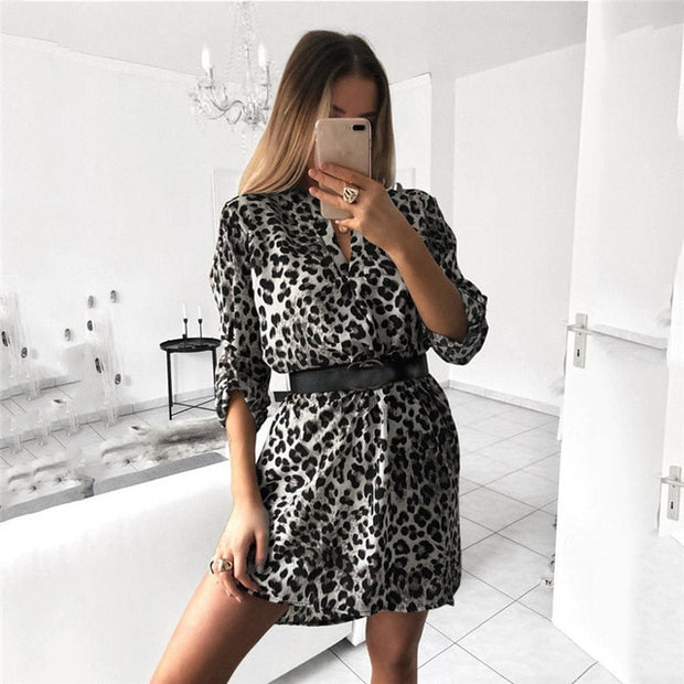 Leopard V Neck Long Sleeve Irregular Hem Loose Dress - Shop Shiningbabe - Womens Fashion Online Shopping Offering Huge Discounts on Shoes - Heels, Sandals, Boots, Slippers; Clothing - Tops, Dresses, Jumpsuits, and More.