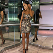 Leopard Sleeveless Strap Bow Slim Short Mini Dress - Shop Shiningbabe - Womens Fashion Online Shopping Offering Huge Discounts on Shoes - Heels, Sandals, Boots, Slippers; Clothing - Tops, Dresses, Jumpsuits, and More.
