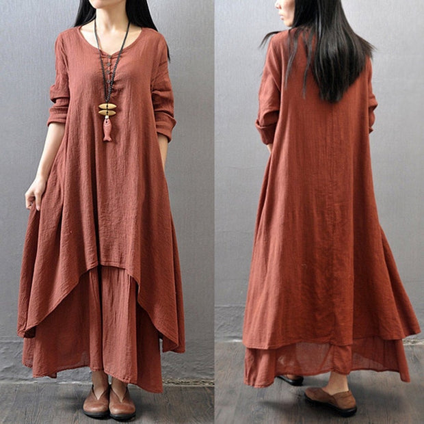 Fashion Ethnic Bohemian Cotton Linen Maxi Dress - Shop Shiningbabe - Womens Fashion Online Shopping Offering Huge Discounts on Shoes - Heels, Sandals, Boots, Slippers; Clothing - Tops, Dresses, Jumpsuits, and More.