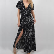 Women Polka Dot High Split Dress - Shop Shiningbabe - Womens Fashion Online Shopping Offering Huge Discounts on Shoes - Heels, Sandals, Boots, Slippers; Clothing - Tops, Dresses, Jumpsuits, and More.