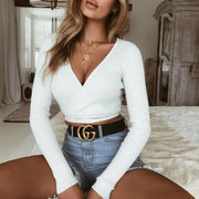 Cross Strap Crater Sweater Knit Top - Shop Shiningbabe - Womens Fashion Online Shopping Offering Huge Discounts on Shoes - Heels, Sandals, Boots, Slippers; Clothing - Tops, Dresses, Jumpsuits, and More.