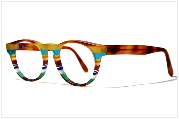 Occhiali a righe colorati, fatti a mano in Italia / Multicolor eyewear by Pollipò