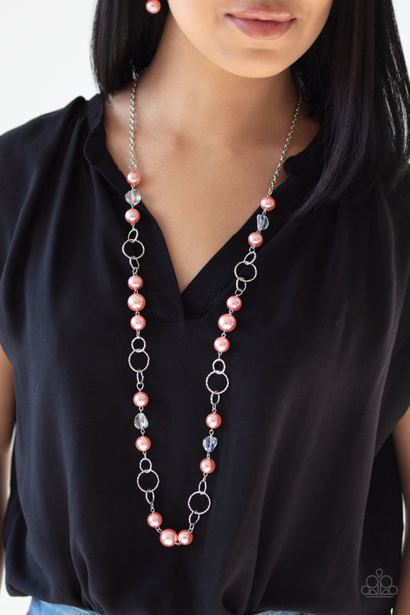Prized Pearls - Orange Necklace - Paparazzi Accessories