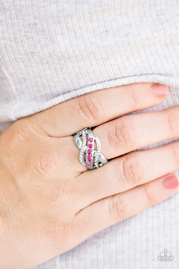 Flirting With Sparkle - Pink Ring - Paparazzi Accessories