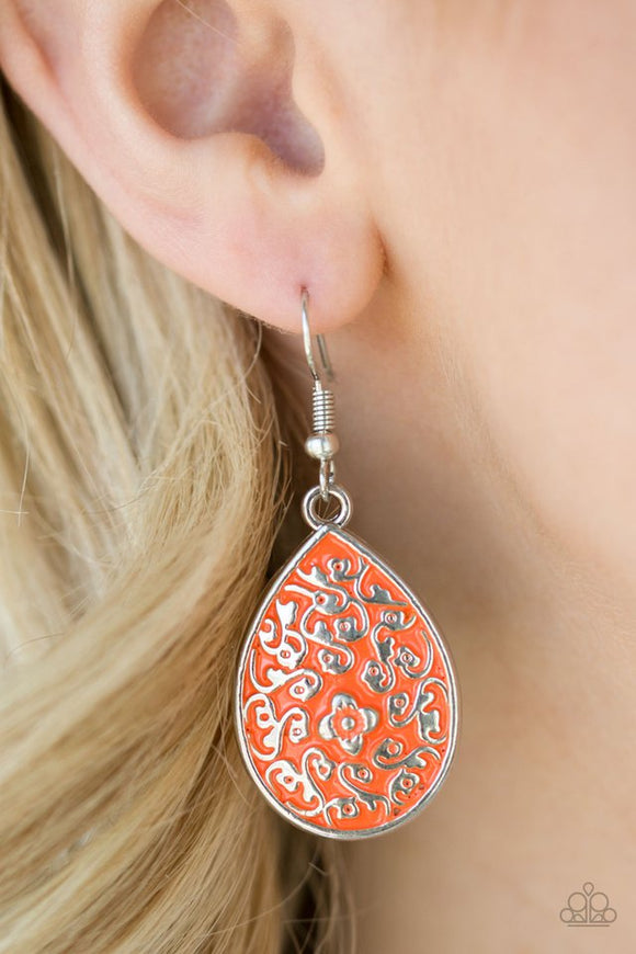 flirty-flower-girl-orange-earrings-paparazzi-accessories