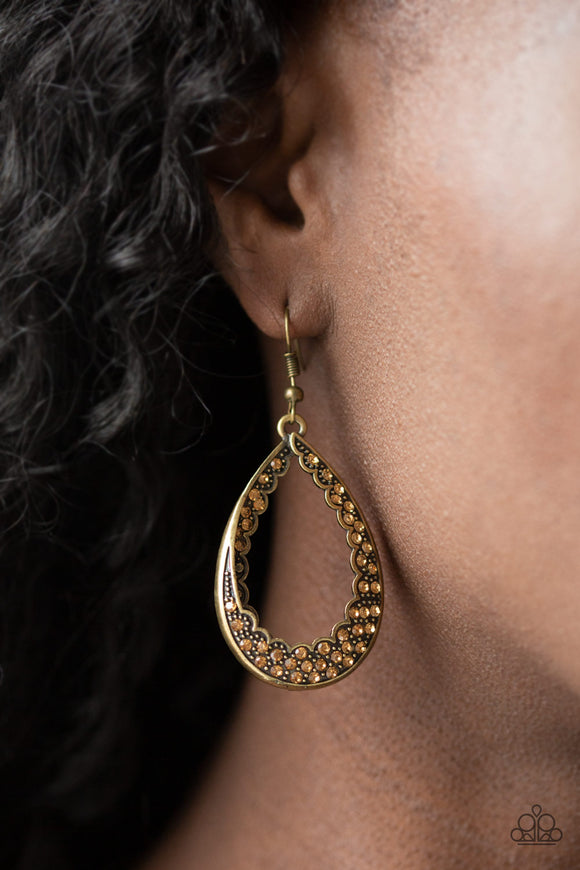 Royal Treatment - Brass Earrings - Paparazzi Accessories